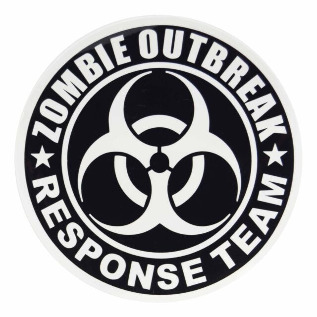 Color Sheet of 4 Zombie Outbreak Response Team Vinyl Decal Sticker Multi
