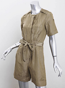 MARC JACOBS Womens Olive Silk Linen Short-Sleeve Belted Cargo Romper
