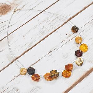 Natural-Baltic-Amber-Necklace-Collar-Choker-Matt-Raw-Pure-Stones-Handmade-Adult