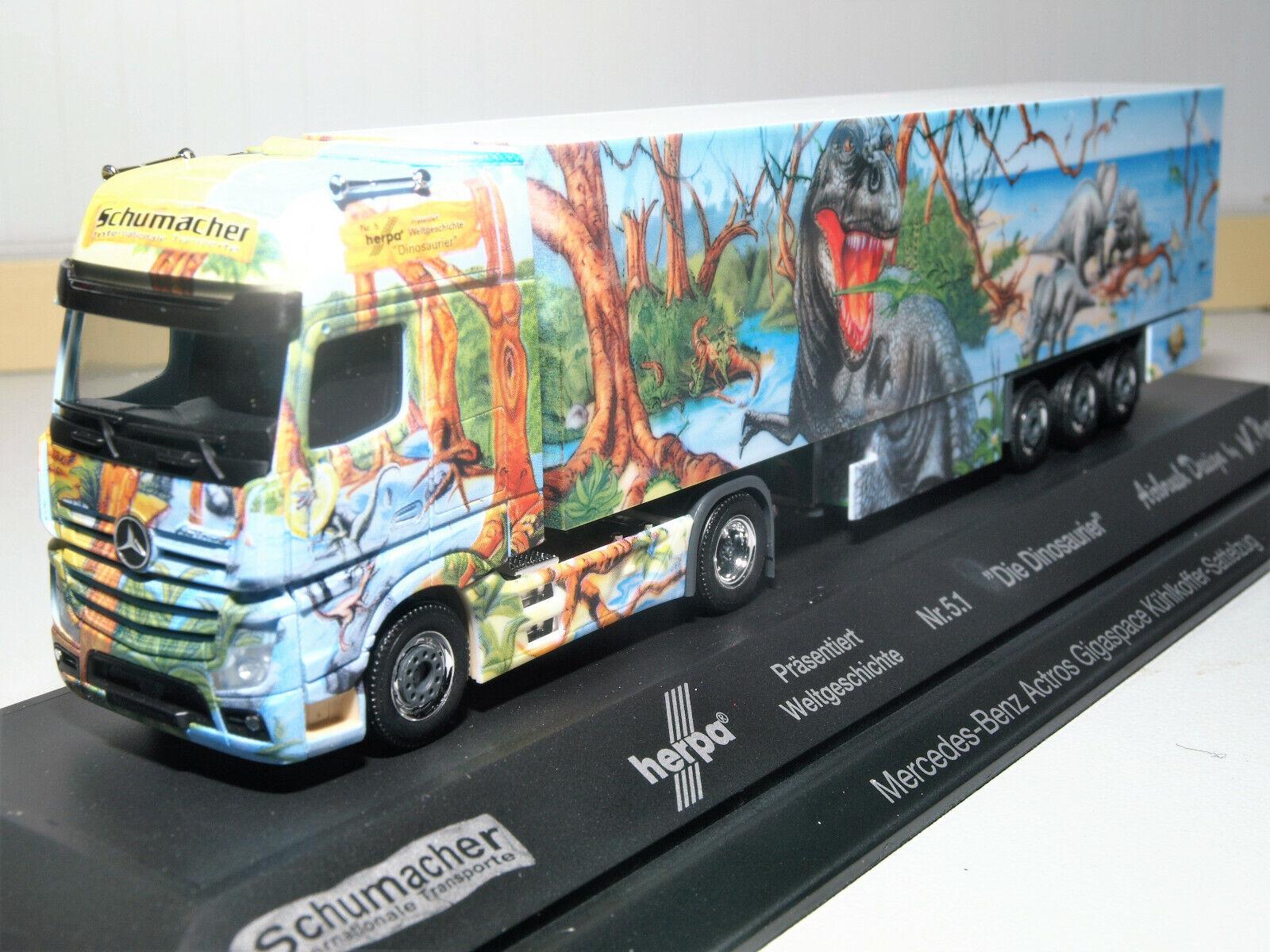 MB actros gigaspace refrigeración maleta SZ Herpa historia mundial nº 5.1 dinosaurios 121934