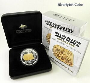 2009-ADELAIDE-ASSAY-OFFICE-1852-GOLD-PLATED-Silver-Proof-Coin
