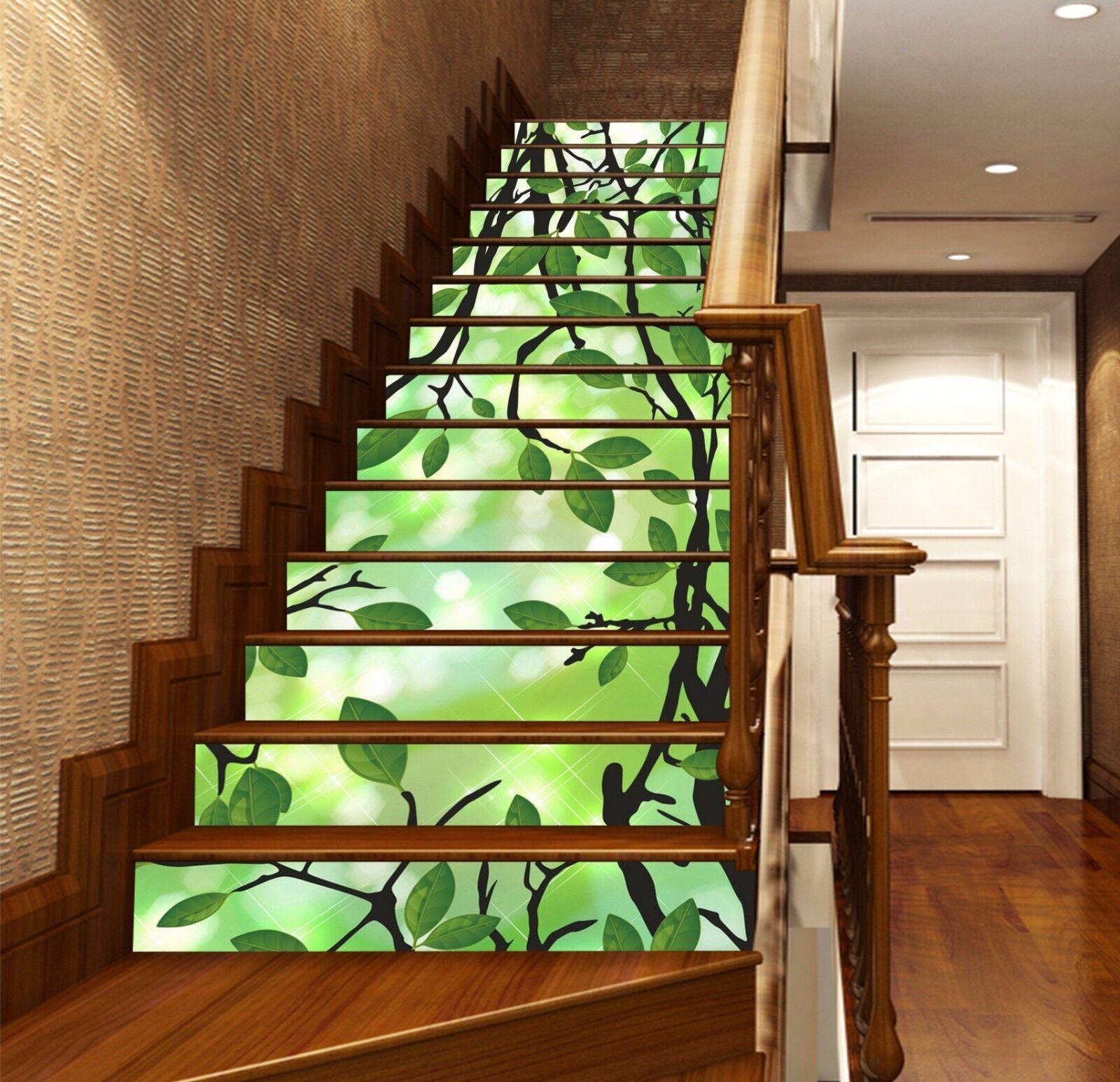 3D Grün Leaf 66 Stair Risers Decoration Photo Mural Vinyl Decal Wallpaper UK