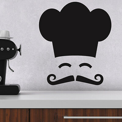 Chef Hat and Moustache Wall Sticker- Fun Kitchen Decal - Removable