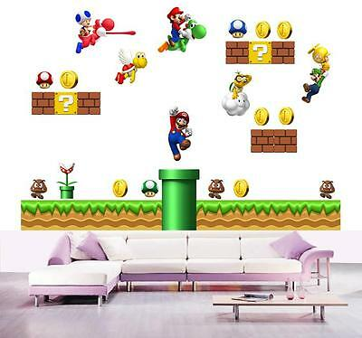 GIANT super mario WALL STICKER Bros Scene Decal Removable Repositionable Kids