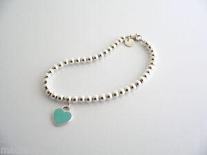 Tiffany Silver Blue Enamel Heart Mini