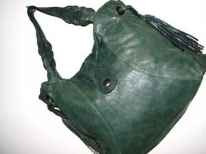 JUNIOR-DRAKE-Athena-Green-Leather-HoBo-NWOT-AmaZing