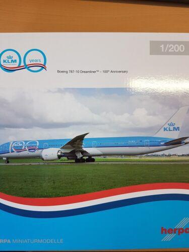 Herpa 570589-1//200 klm boeing 787-10 dreamliner 100th Anniversary-nuevo