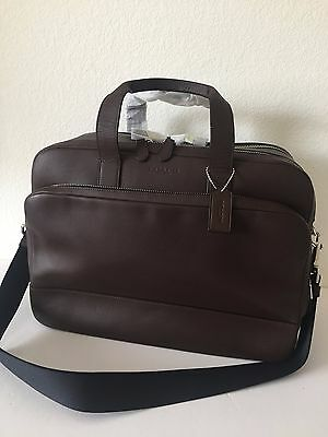 Coach Hamilton 24 Hours Mahogany Smooth Leather Commuter Laptop Briefcase F72224