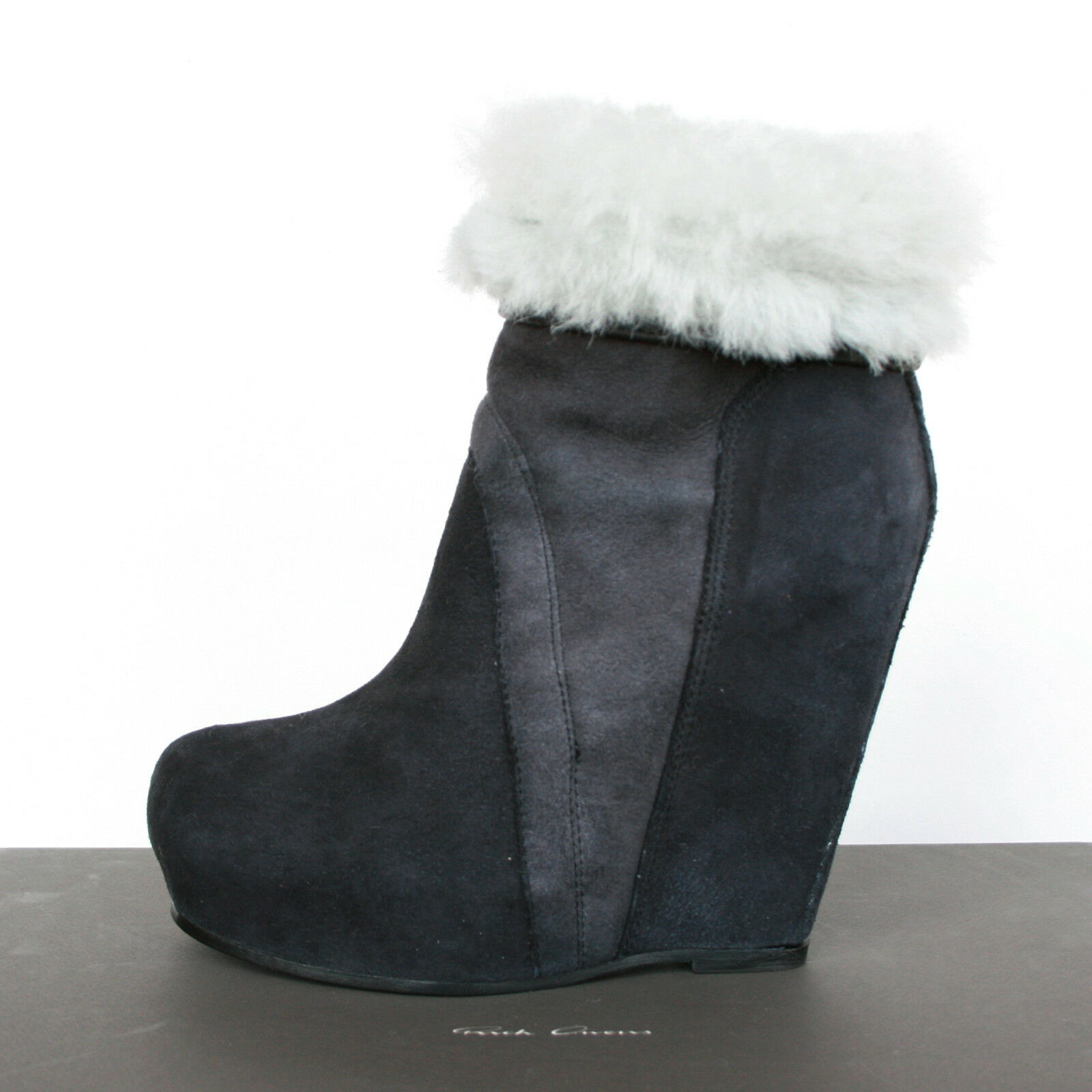 RICK OWENS  1,790 shearling shearling shearling fur high wedge heel pull on leather Stiefel 37   7 NEW 90c41c