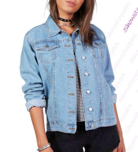 NEW Plus Size 16 18 20 22 24 26 Denim Jacket Women Jean Jackets Ladies Blue