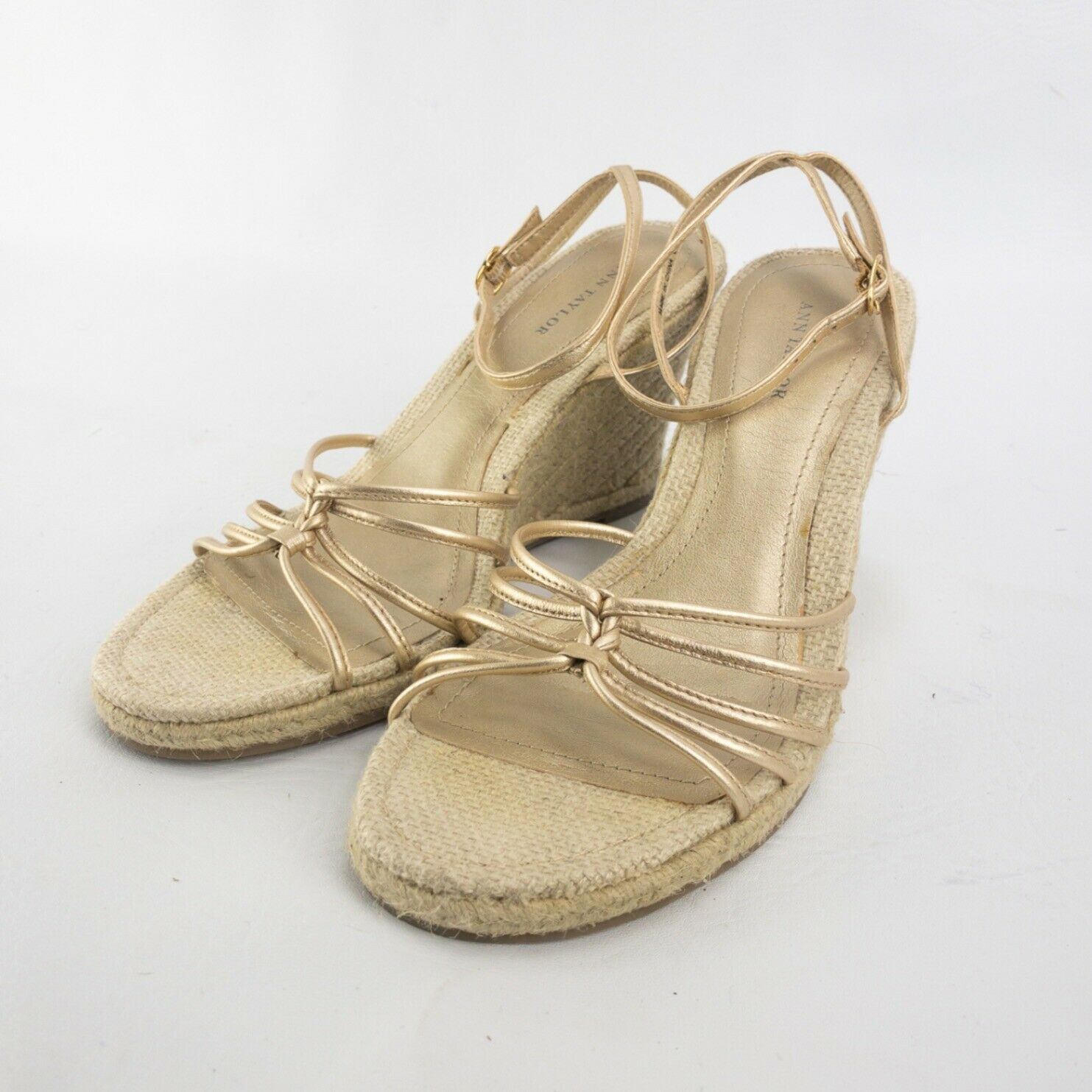 Ann Taylor Womens Cream Strappy Ankle Strap Wedge Heel Sandal Size US 8