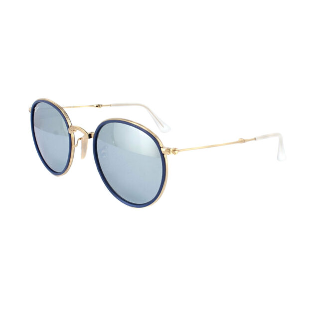 d4b8efb0ee Ray-Ban Sunglasses Round Folding 3517 001 30 Gold Silver Flash Mirror