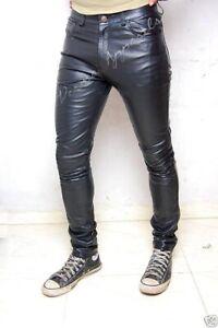 heißer verkauf billig herausragende Eigenschaften weltweit verkauft Details about Black leder jeans hose skinny skintight leder hosen DE