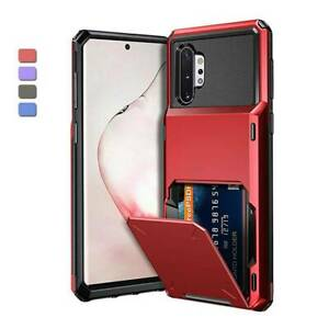 For Samsung Galaxy Note 10 S10 S10e 5G Rugged Card Wallet Holder Slot Case Cover
