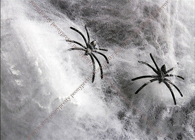 Halloween Stretchable Fake SPIDER WEB W/ 2 Spiders Cotton Trick Party Decor Bar