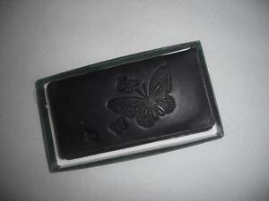 Butterfly-Embossed-Leather-Checkbook-Wallet-Black-See-Description-for-Pictures