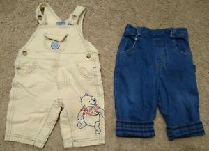 Lot-2-Disney-Vintage-Beige-Pooh-Overalls-Bibs-Pants-Blue-Jeans-0-6-9-months