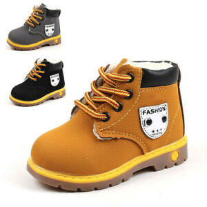 Child Kids Baby Boys Girl  Snow Boots Winter Warm Fur Lined Leather Shoes