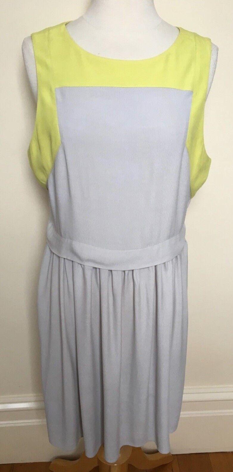 RODEO SHOW grau Citrus Lime Sleeveless Soft Drape Top Skirt Look Shift Dress 14
