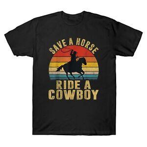 Enregistrer-un-cheval-cowboy-vintage-homme-a-manches-courtes-T-shirt-coton-Retro-Tee-Top