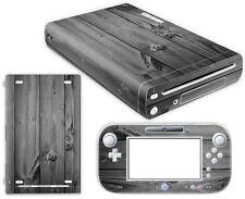 Nintendo Wii U Skin Design Foils Aufkleber Schutzfolie Set - Grey Wood Motiv