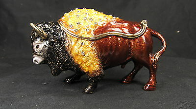 American Bison (Buffalo) Jeweled Pewter Trinket or Jewelry Box Wildlife