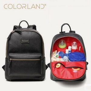 8468cb8507ea Image is loading Colorland-PU-Leather-Baby-Bag-Organizer-Diaper-Bags-