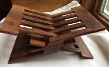 """Vtg Himalayan Sheesham Wood 1 Piece Carved Book Bible Holder Stand India 8x4"""""""
