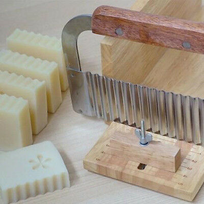 Soap Wax Vegetable Cutter Wavy Making tool Stainless Wood Handle Crinkle Slicer