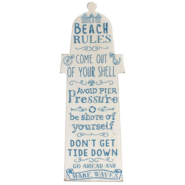 Beach Rules White Wooden Lighthouse Chic N Shabby Wall Plaque Bathroom Sign Ebay