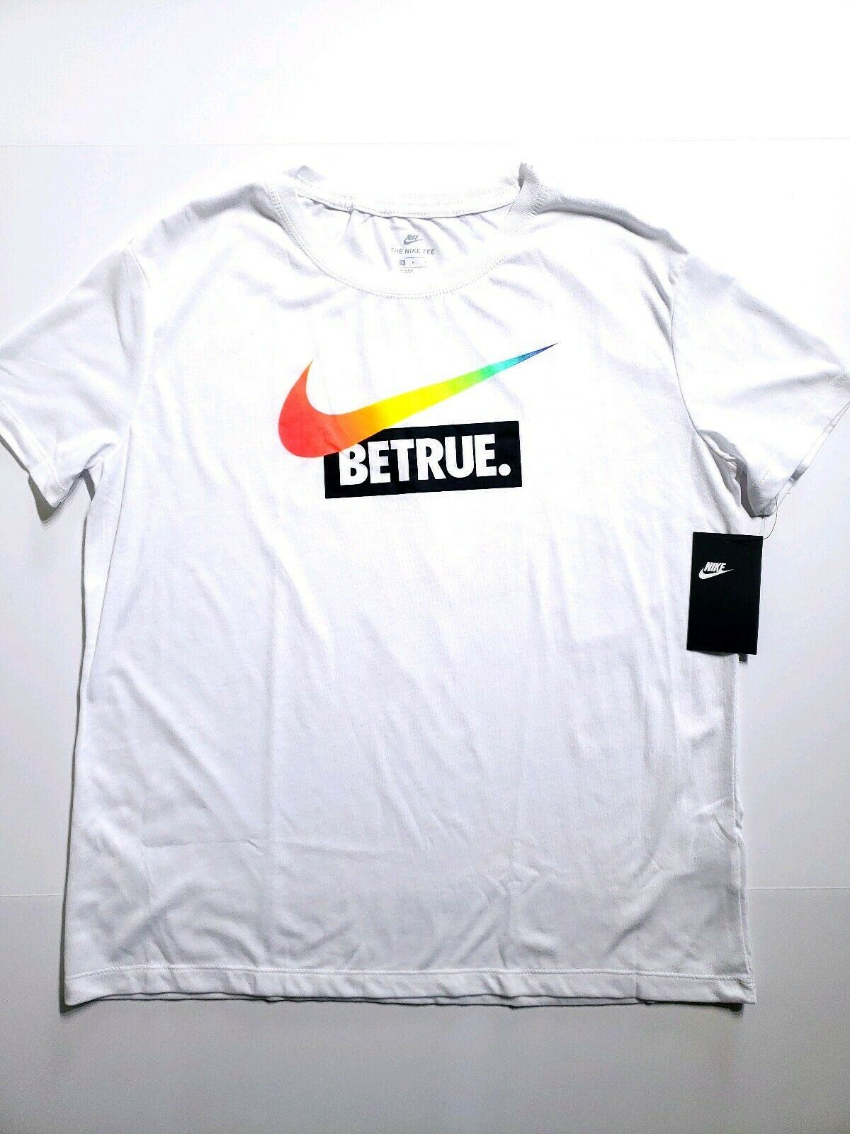 f60e6ef78d Nike Be True BETRUE T-shirt Tee Size Med White Rainbow