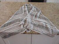 Knox Rose Women's Long Knit Sleeveless Sweater Gray And White Size M
