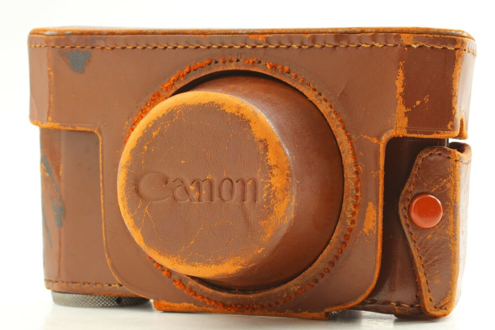 【Exc】Canon Brown Leather Camera Case for Rangefinder IIb III IVF SB From Japan