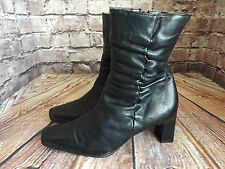 Ladies Pierre Cardin Black Leather Mid Heel Zip Up Ankle Boots Size EU 39