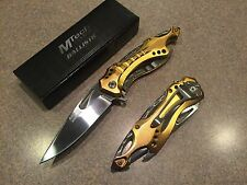 MTech Ballistic Spring Assisted Folding Pocket Knife Gold Handle Switch