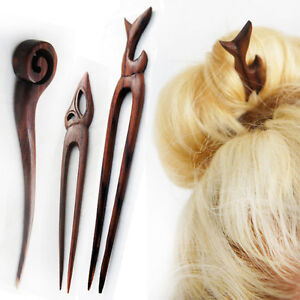 Carved Wooden Hair Stick Fork