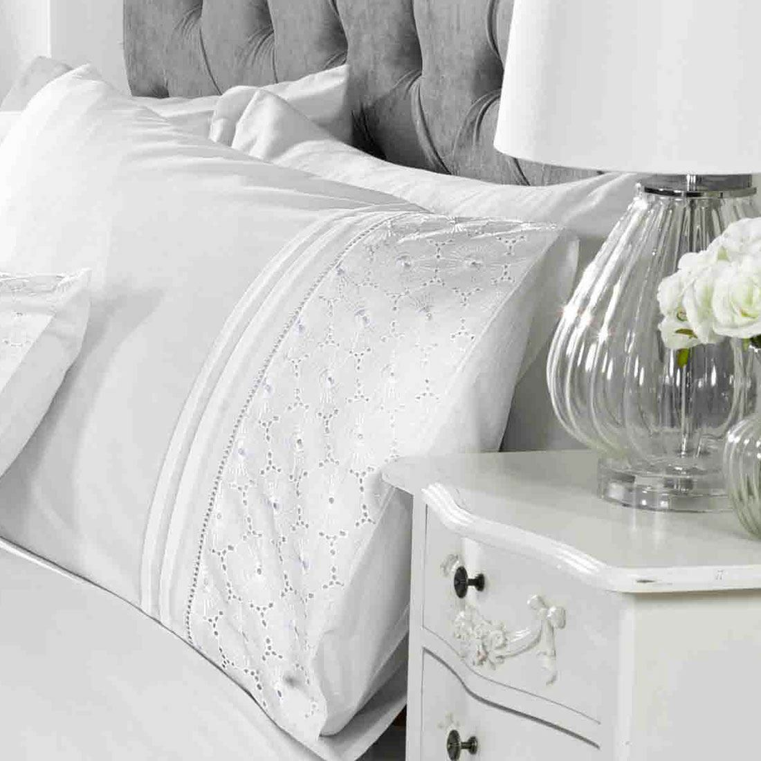 EgreenAN FLORAL DOUBLE DUVET COVER SET EMBROIDERED - WHITE