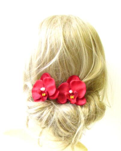 2 x Red Orchid Flower Hair Pins Clips Tropical Beach Bridal Hawaiian 1950s 1238