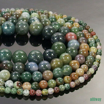 Natural Indian Agate Gemstone Round Beads 15/'/' 2mm 3mm 4mm 6mm 8mm 10mm 12mm