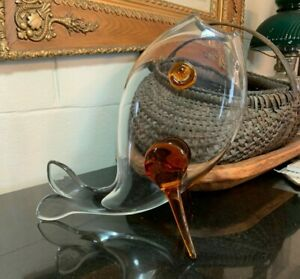 Mid-century-Empoli-Glass-15-034-Fish-Vase-Vintage-Clear-w-Amber-Accents-Excellent