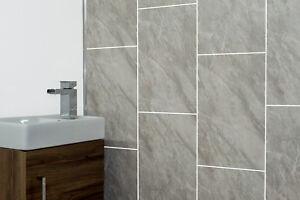 Image Is Loading Grey Marble Tile Groove Bathroom Panels Shower Wet