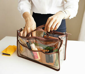 Women Clear Removable Handbag Organizer Insert Cosmetic Bag In Bag