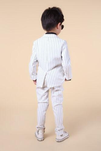 2pcs Kids Baby Boys Gentleman Blazers Formal Striped Coat+Pants Wedding Clothes