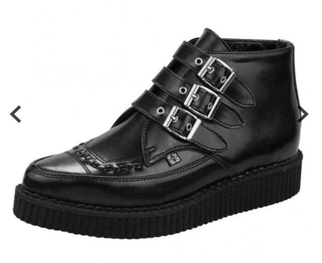 Mens Tuk Black Pointy 3 Buckle Boot Nib Uk 12 Rock N Roll Punk Goth Painton