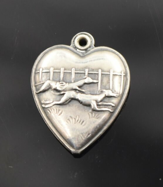 Vintage Sterling Silver 925 Greyhound Dog Race Track Puffy Heart Charm 1940s