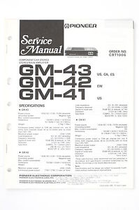 pioneer gm 43 42 41 car stereo amplifier service manual wiring rh ebay com