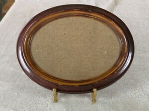Vintage HL BRITISH REGISTERED DESIGN Oval Faux Wood Picture Frame