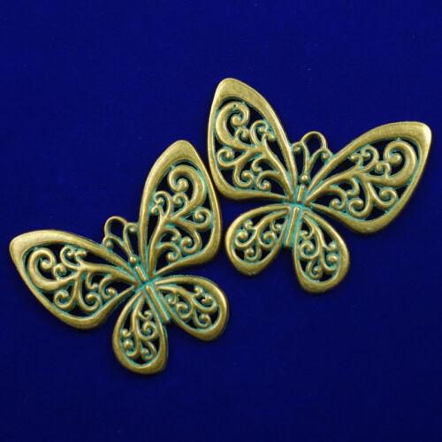 55x50x2mm 2Pcs Excellent Carved Brass Bronze Butterfly Pendant Bead  NN254