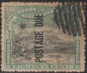 NORTH-BORNEO-1901-POSTAGE-DUE-18c-MT-KINABALU-CTO-CAT-RM-700-AS-POSTALLY-USED-B
