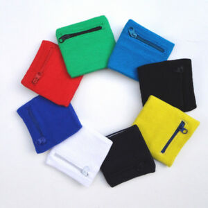 Sports-Wrist-Sweatbands-Tennis-Badminton-Gym-Running-Unisex-Wristband-Zip-Wallet